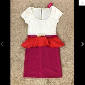 White Orange Hot Pink Color Block Peplum Dress M